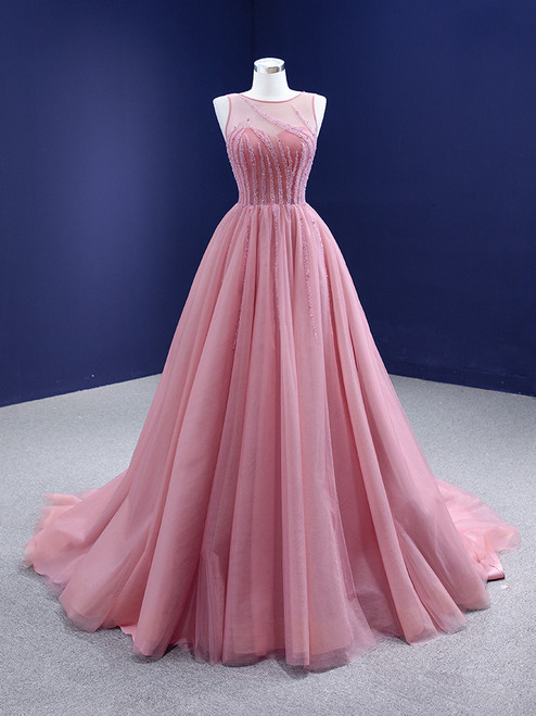 A-Line Pink Tulle Backless Beading Prom Dress