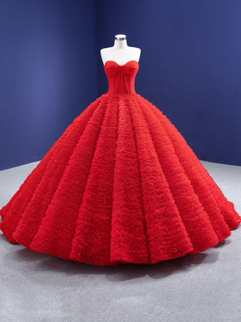 Princess Red Tulle Strapless Pleats Prom Dress