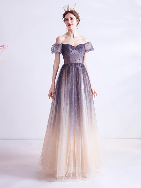 In Stock:Ship in 48 Hours Purple Tulle Sequins Beading Pleats Prom Dress