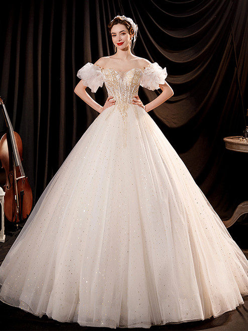 In Stock:Ship in 48 Hours White Tulle Sequins Wedding Dress