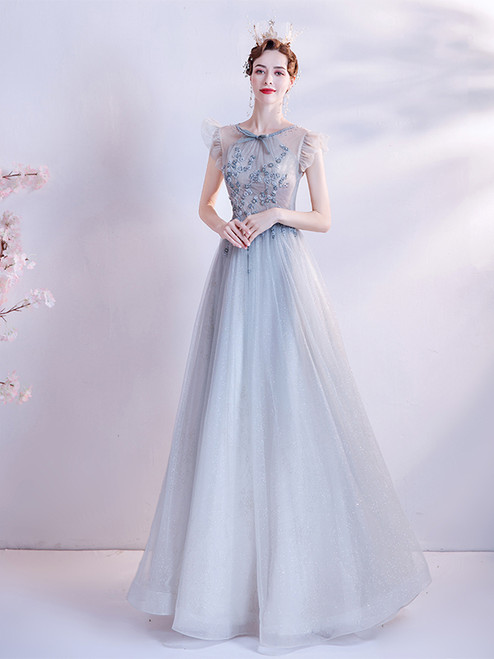 In Stock:Ship in 48 Hours Light Blue Tulle Backless Beading Prom Dress