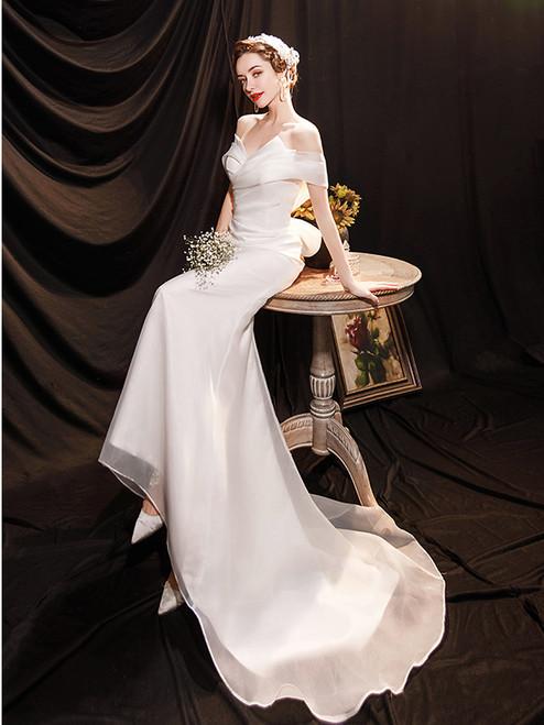 In Stock:Ship in 48 Hours White Mermaid Wedding Dress