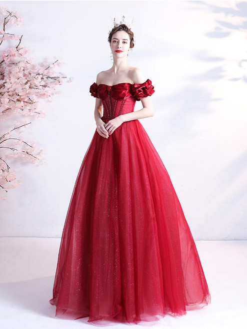 In Stock:Ship in 48 Hours Sexy Red Tulle Beading Prom Dress