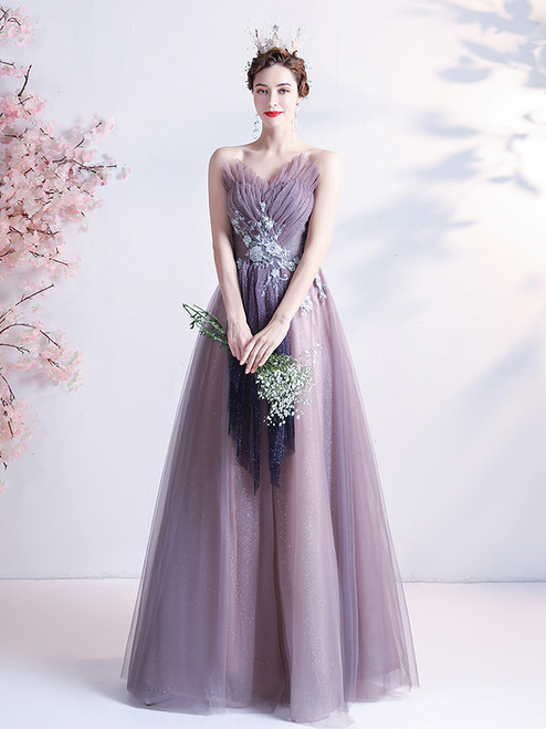 In Stock:Ship in 48 Hours Tulle Sequins Beading Pleats Prom Dress