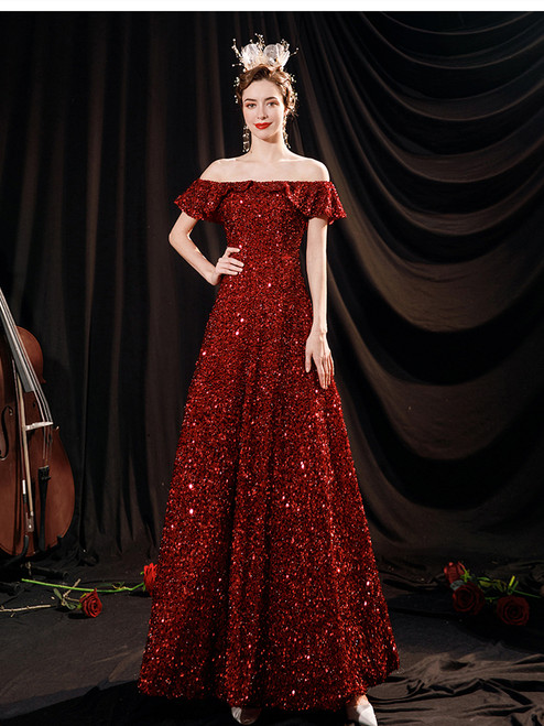 In Stock:Ship in 48 Hours Red Sequins Prom Dress