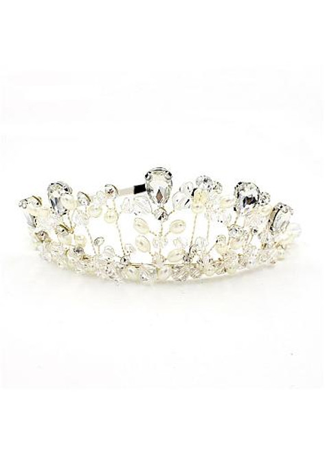 In Stock Stunning Alloy Wedding Tiara With Rhinestones & Pearls