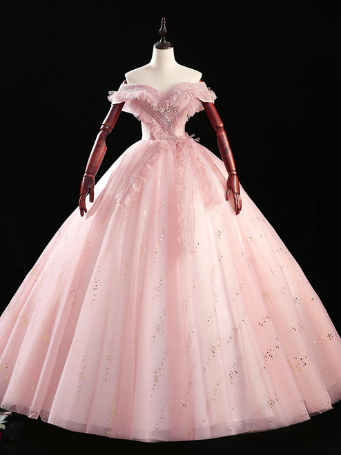 Pink Tulle Sequins Off the Shoulder Quinceanera Dress