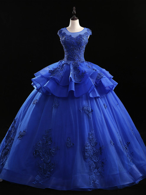 Royal Blue Tulle Appliques Beading Quinceanera Dress