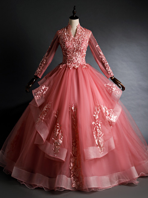 Pink Tulle Long Sleeve Appliques Quinceanera Dress