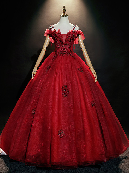 Burgundy Tulle Lace Spaghetti Straps Appliques Quinceanera Dress