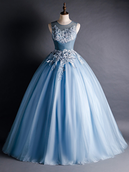 Blue Tulle Appliques Beading Pleats Quinceanera Dress