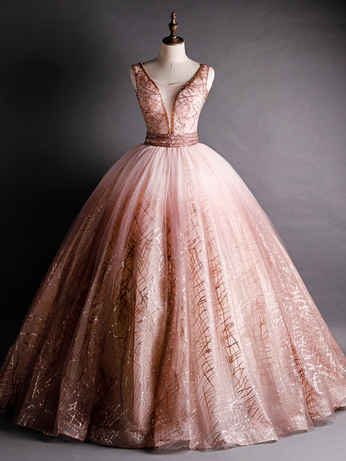 Pink Ball Gown Tulle Sequins Bling Bling Beading Quinceanera Dress