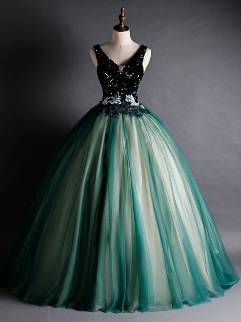 Green Tulle Sequins V-neck Appliques Quinceanera Dress