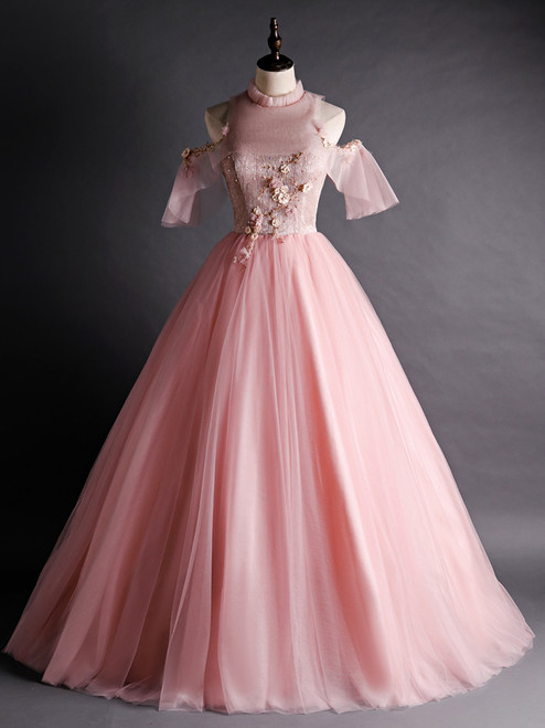 Pink Tulle Appliques Beading Backless Quinceanera Dress