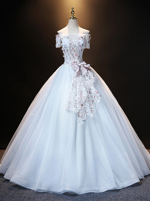 Gray Tulle Sequins Off the Shoulder Quinceanera Dress