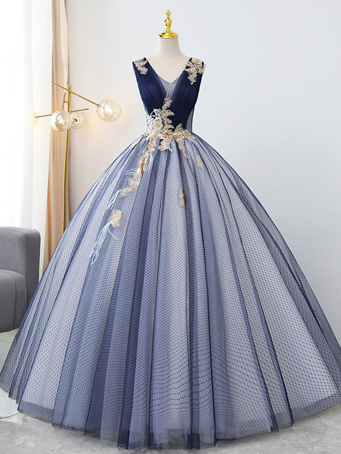 Blue Tulle V-neck Sequins Appliques Quinceanera Dress