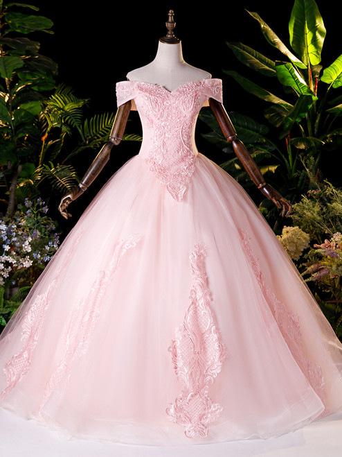 Pink Tulle Appliques Beading Quinceanera Dress