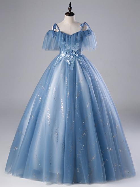 Blue Tulle Sequins Spaghetti Straps Appliques Quinceanera Dress