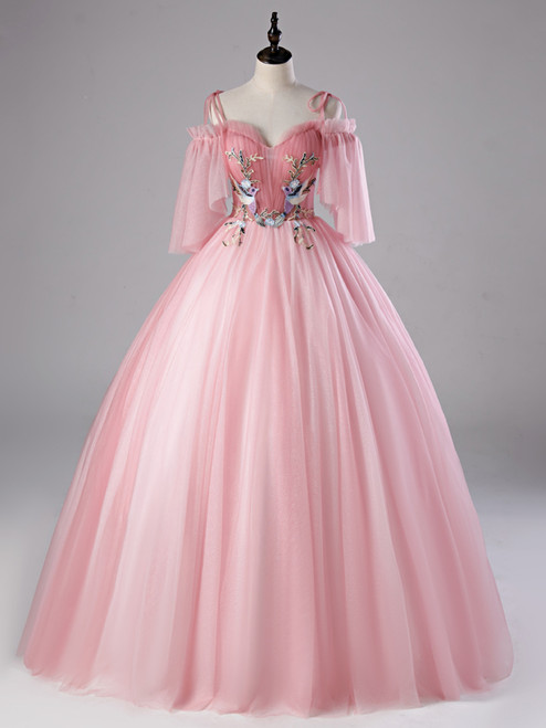 Pink Tulle Sequins Spaghetti Straps Appliques Quinceanera Dress