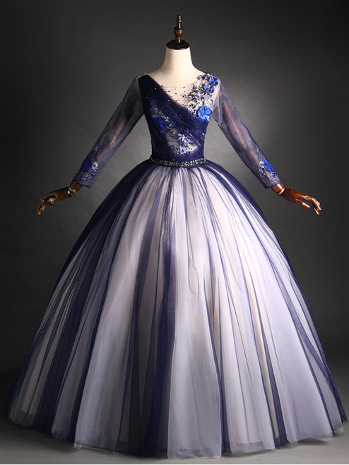 Navy Blue Tulle Long Sleeve Beading Sequins Quinceanera Dress