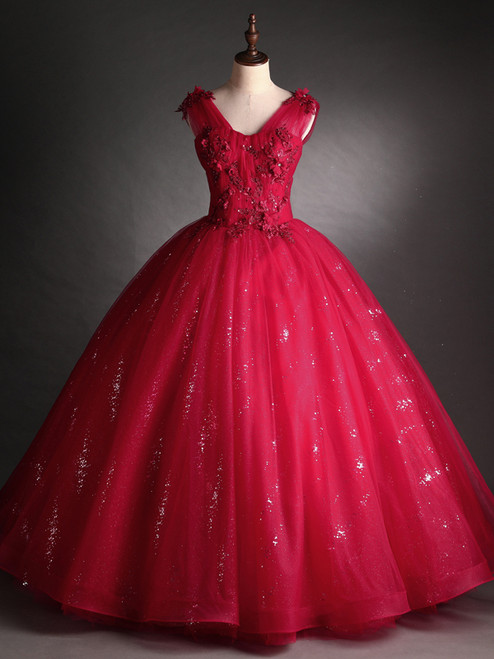 Burgundy Tulle Sequins V-neck Appliques Beading Quinceanera Dress
