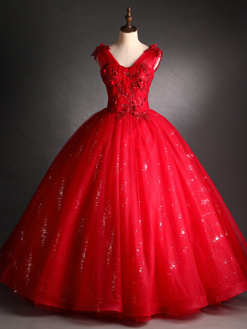 Red Tulle Sequins V-neck Appliques Beading Quinceanera Dress