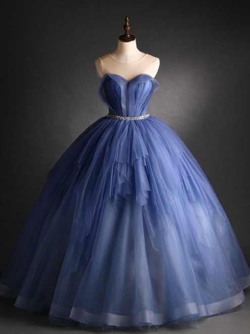 Blue Tulle Pleats Backless Beading Quinceanera Dress