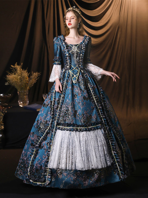 Blue Ball Gown Long Sleeve Baroque Victorian Dress