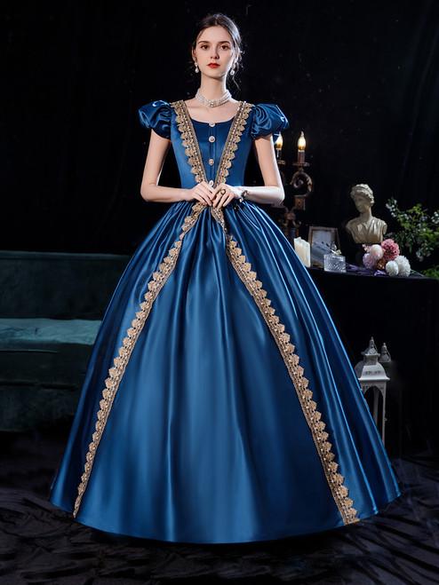 Blue Satin Puff Sleeve Appliques Victorian Masquerade  Dress