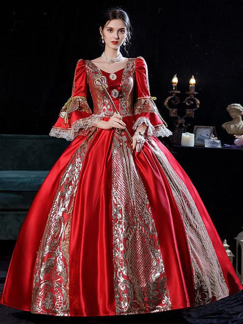 Burgundy Satin Sequins Rococo Baroque Dress