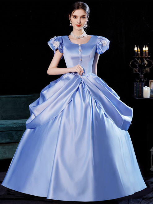 Blue Satin Puff Sleeve Baroque Victorian Dress