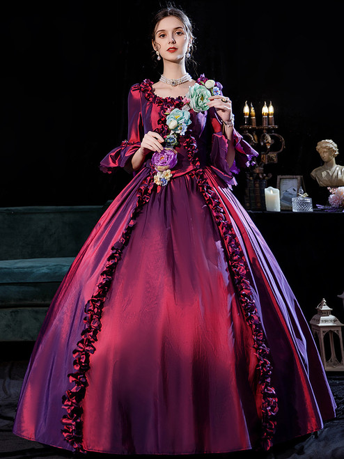 Gradient Purple Short Sleeve 3D Flower Victorian Vintage Dress