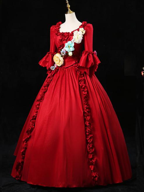 Red Short Sleeve 3D Flower Victorian Vintage Dress