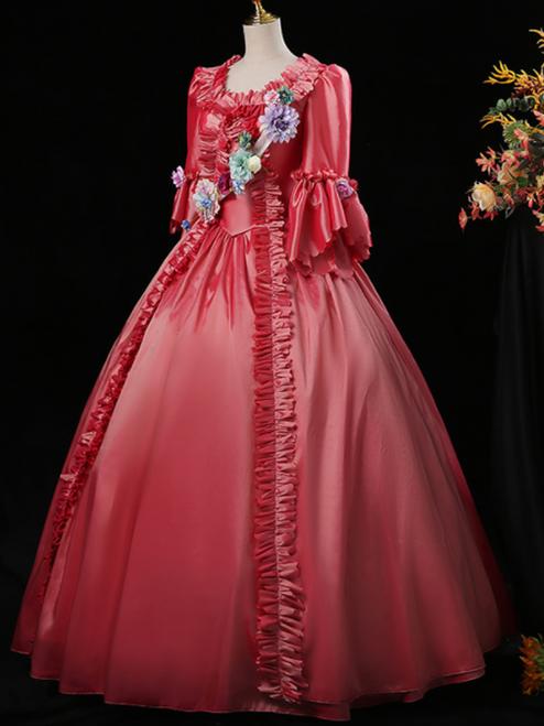 Pink Short Sleeve 3D Flower Rococo Victorian Vintage Dress