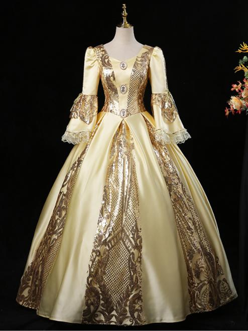 Gold Satin Sequins Rococo Baroque Antonietta Dress
