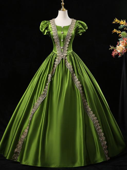 Green Satin Puff Sleeve Appliques Victorian Rococo Dress