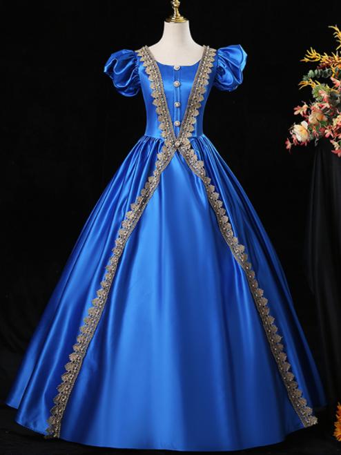 Royal Blue Satin Puff Sleeve Appliques Victorian Vintage Dress