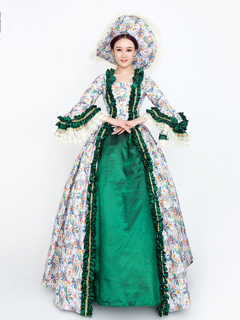 Green Satin Print Long Sleeve Rococo Vintage Gown Dress