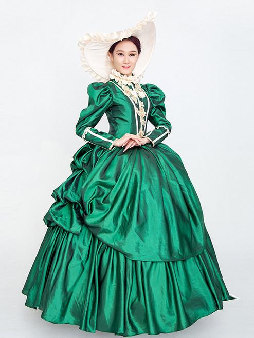 Green Satin Long Sleeve Appliques Rococo Baroque Vintage Dress