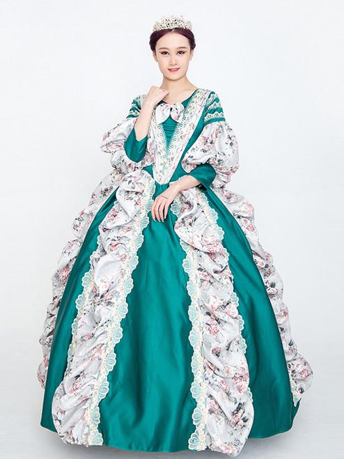 Green Satin Print Short Sleeve Rococo Victorian Dress