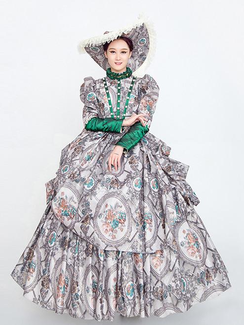 Gray Satin Print High Neck Long Sleeve Rococo Baroque Dress