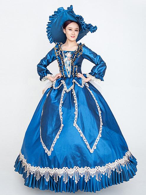 Royal Blue Satin Long Sleeve Appliques Baroque Vintage Dress