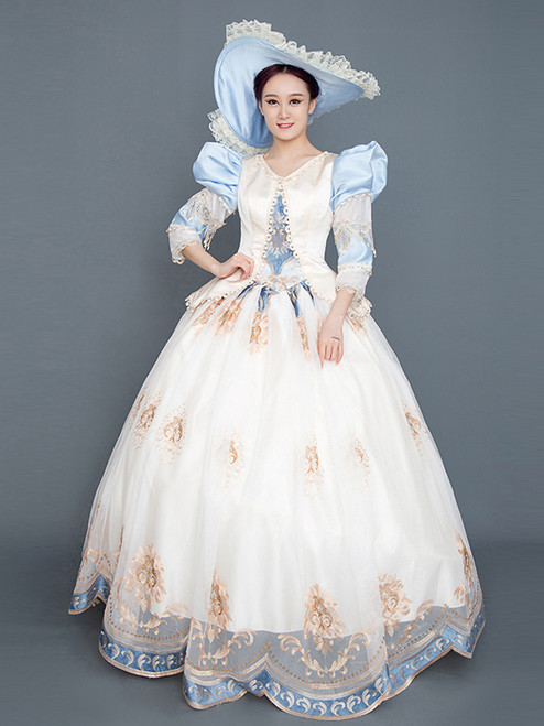 Champagne Tulle Appliques Long Sleeve Masquerade Baroque Dress