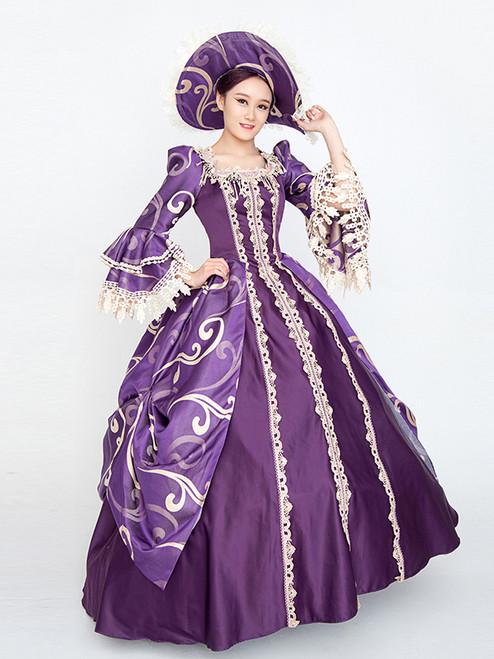 Purple Satin Long Sleeve Print Baroque Antonietta Dress