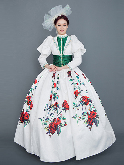 White Rose Print Long Sleeve Baroque Victorian Dress