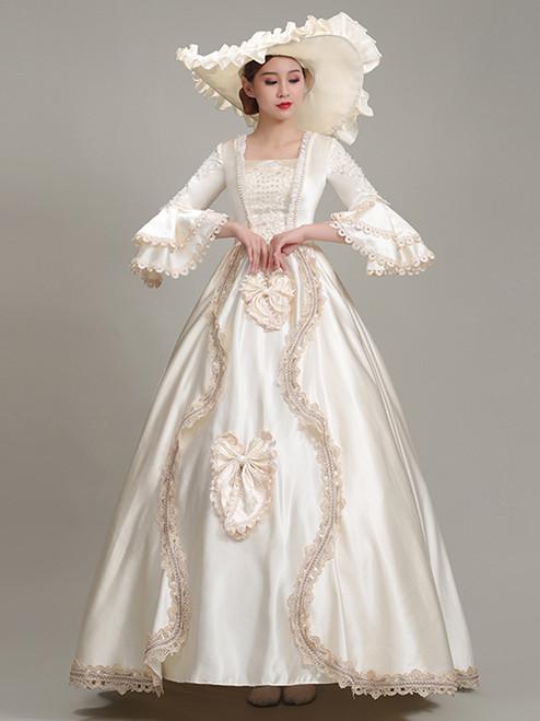 Champagne Satin Square Bow Baroque Victorian Dress