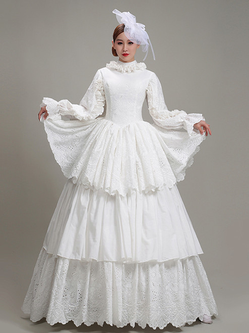 White Lace Long Sleeve Tiers Rococo Baroque Dress