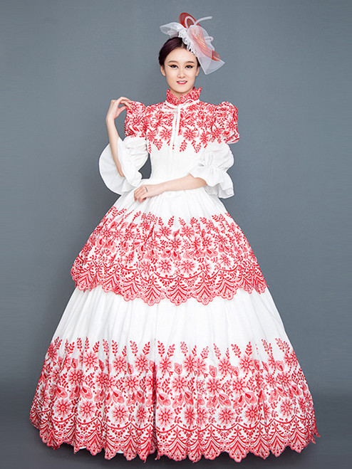 Red White Long Sleeve High Neck Victorian Vintage Dress