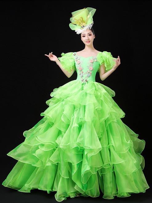 Green Organza Short Sleeve Appliques Baroque Dress