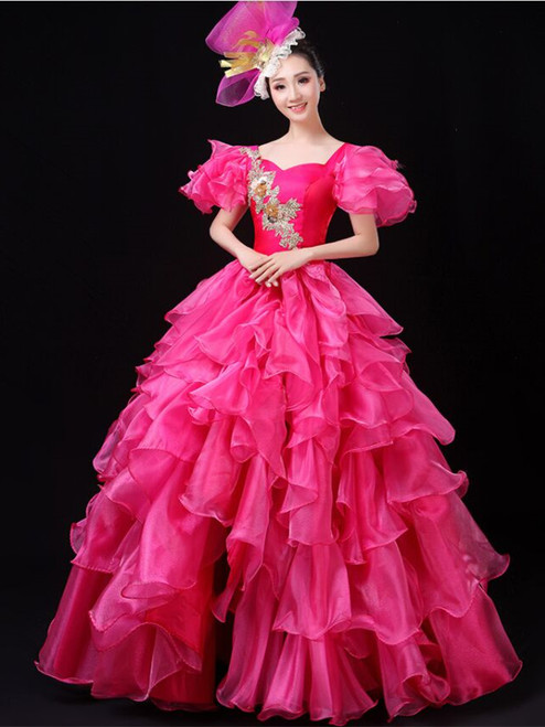Fuchsia Organza Short Sleeve Appliques Baroque Dress